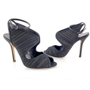 Oscar De La Renta Satin Black Suzy High Sandals